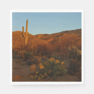 Saguaro Sunset I Arizona Desert Landscape Paper Napkins