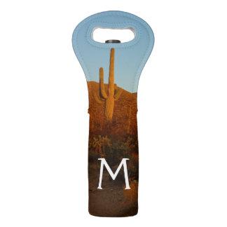 Saguaro Sunset I Arizona Desert Landscape Wine Bag