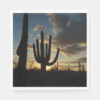 Saguaro Sunset II Arizona Desert Landscape Paper Napkins