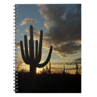 Saguaro Sunset II Arizona Desert Landscape Spiral Notebook