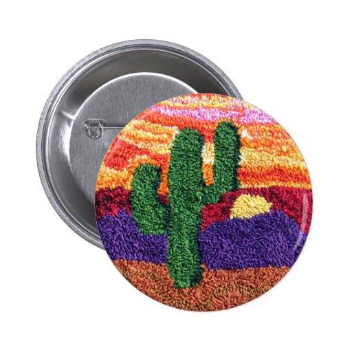 Saguaro Sunset Needle Punch Art Postcard Button