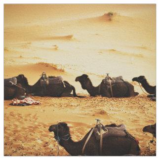 Sahara Themed, Lineup Of Camels In Golden Sand Sah Fabric