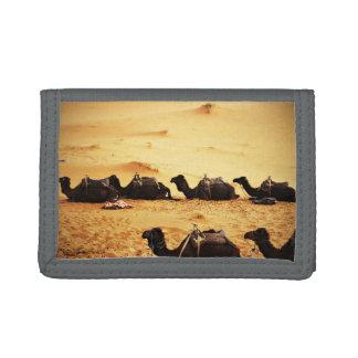 Sahara Themed, Lineup Of Camels In Golden Sand Sah Tri-fold Wallet