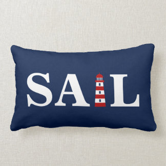 Sail and Lighthouse - Blue, White, Red - Nautical Lumbar Pillow