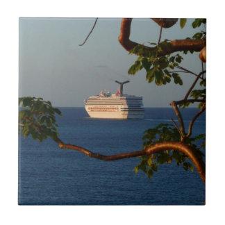 Sail Away at Sunset I Cruise Vacation Photography Tile