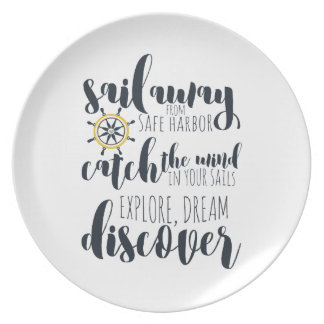 Sail away from safe harbor | nautical party plate