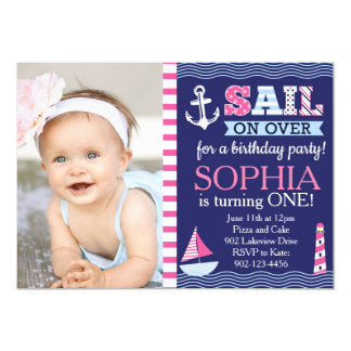 "Sail Away Girl's Nautical Birthday 5"" X 7"" Invitation Card"