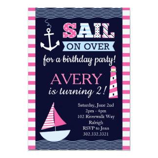 Sail Away Girl's Nautical Birthday Invitation