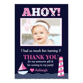 "Sail Away Girl's Nautical Photo Thank You Note 5"" X 7"" Invitation Card"
