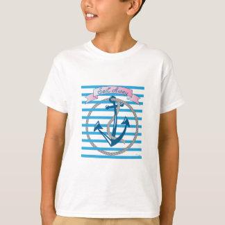 Sail Away Nautical Anchor with blue stripes T-Shirt