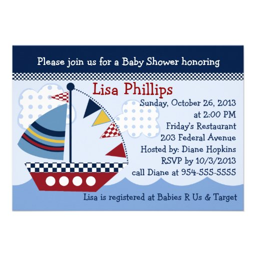 Sail Away/Nautical/Boat #2 Baby Shower Invitation