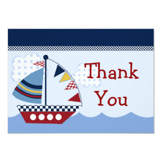 "Sail Away/Nautical/Boat #2 Thank You Card 5"" X 7"" Invitation Card"