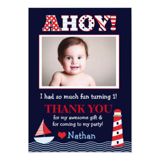Sail Away Nautical Photo Thank You Note Card