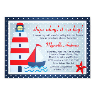 Sail Away Sailboat Baby Shower Card