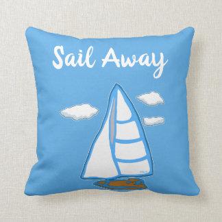 Sail Away Sailboat  Blue Pillow
