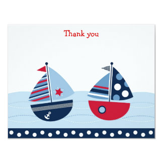 "Sail Away Sailboat Flat Thank You Note Cards 4.25"" X 5.5"" Invitation Card"