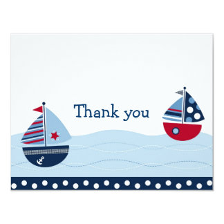 "Sail Away Sailboat Nautical Thank You Note Cards 4.25"" X 5.5"" Invitation Card"