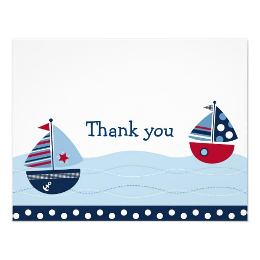 Sail Away Sailboat Nautical Thank You Note Cards Invitations