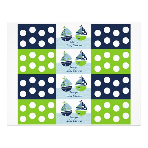 Sail Away Sailboat Nautical Water Bottle Labels Full Color Flyer