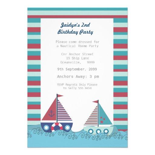 Sail Away Sailing Boat Boys Birthday Photo Invite