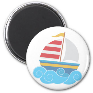 Sail Boat 2 Inch Round Magnet