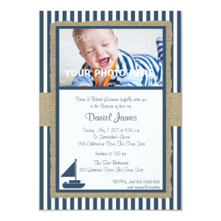 "Sail Boat and Stripes Rustic Nautical Baptism 5"" X 7"" Invitation Card"