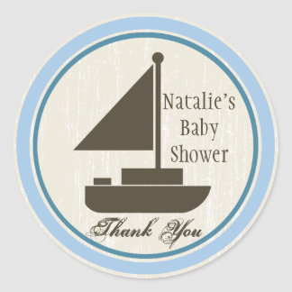 Sail Boat Baby Shower Blue Classic Round Sticker