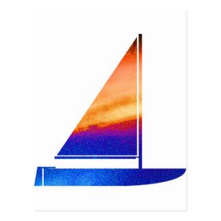 Sail  boat - Blue n Red Postcard