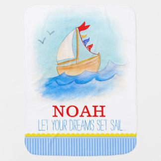 Sail boat blue white boys name baby blanket