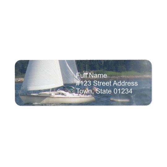 Sail Boat Bubbles Return Mailing Label