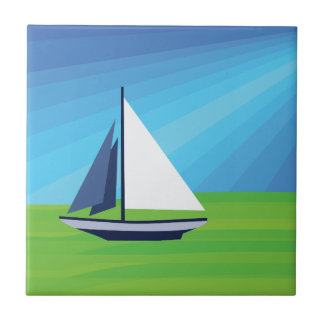 Sail Boat Ceramic Tile