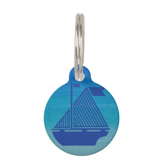 Sail Boat on the Ocean Pet ID Tag