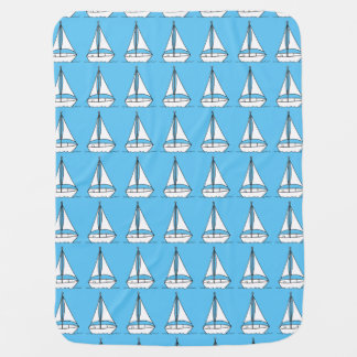 Sail boat outlines on blue baby blankets