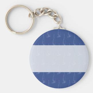 Sail boat pattern. Dark Blue. Keychain