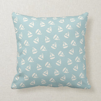Sail Boat Pattern in Sea Foam and Cream Throw Pillow