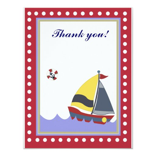"""Sail Boat Red border Thank you note flat 4.25"""" X 5.5"""" Invitation Card"""