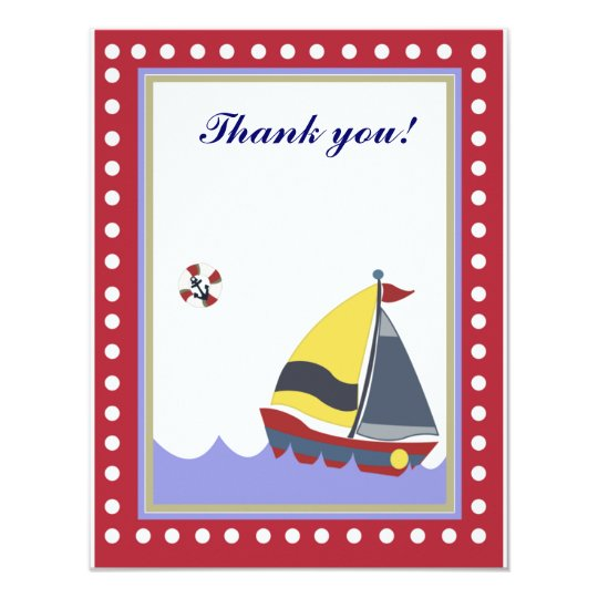 Sail Boat Red border Thank you note flat Card