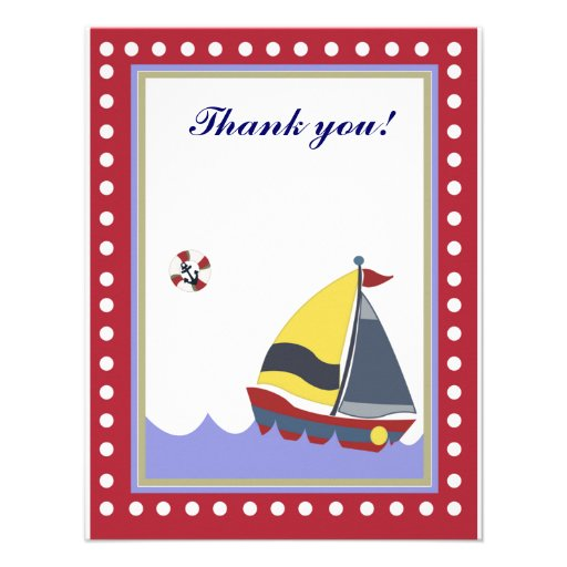 Sail Boat Red border Thank you note flat Personalized Announcement