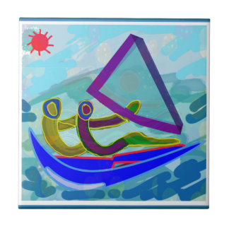 Sail Boat Water Sports Small Square Tile