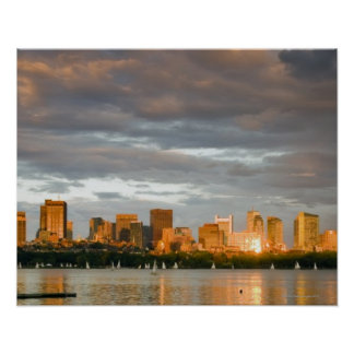 Sail boating on The Charles River at sunset Poster