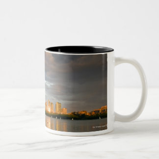 Sail boating on The Charles River at sunset Two-Tone Coffee Mug