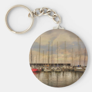 Sail Boats At The Marina Waiting For the Weekend Keychain
