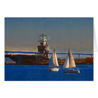 Sail boats in San Diego Harbor Card
