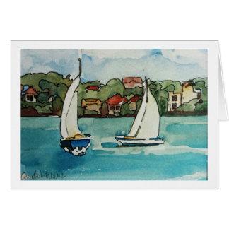 Sail boats in Sydney - blank card