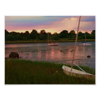 sail boats low tide rock nook kingston poster