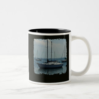 Sail Boats on Black Two-Tone Coffee Mug