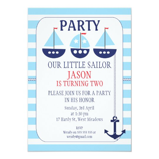 Sail Boats Stripes Nautical Birthday Invitation