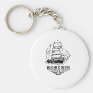 sail close to the wind safety basic round button keychain