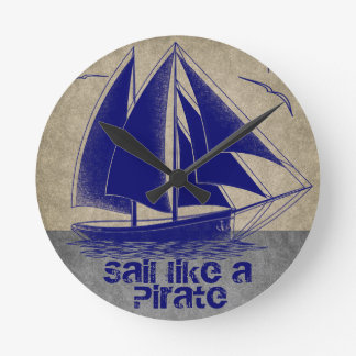 Sail like a pirate, boy nautical round clock
