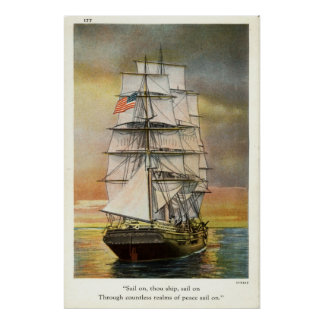 Sail on Thou Ship Vintage 1926 Poster